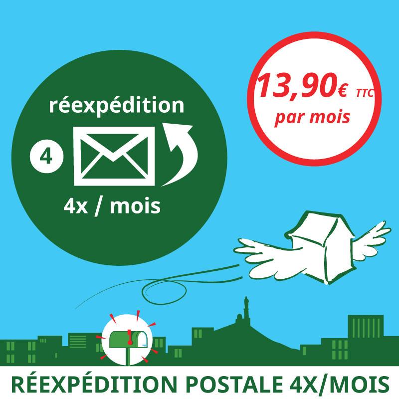 Réexpédition postale 4x / mois - Ouvrir une Boîte postale en France